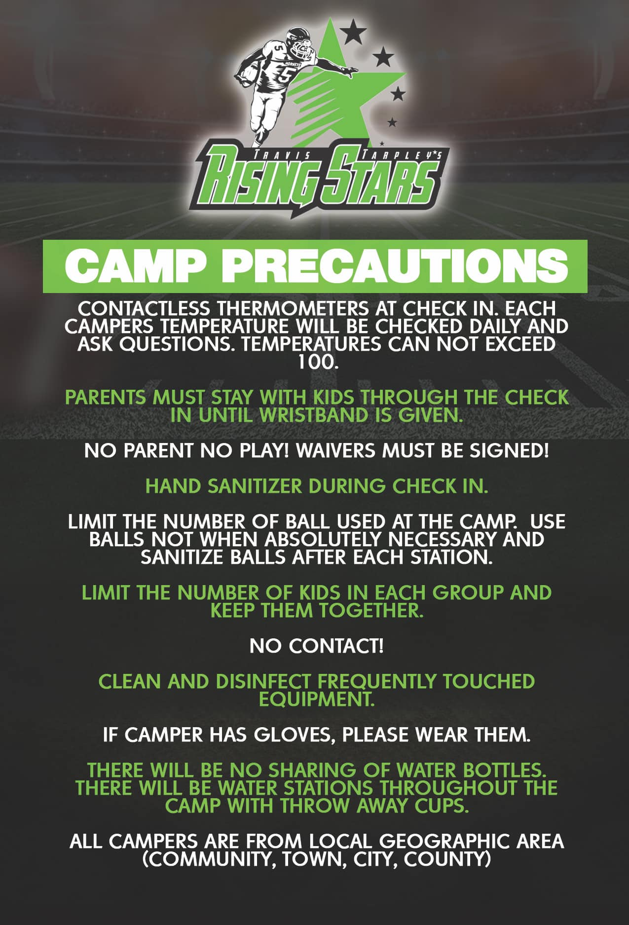 2020 Camp Precautions